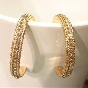 BaubleBar Jewelry - 💎💎 Chic Gold Cubic Zirconia Hoop Earrings